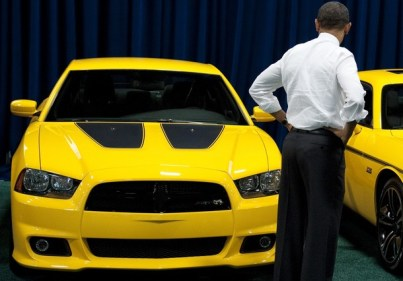US President Barack Obama takes a look a