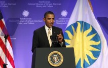 U.S. President Obama speaks at the ground breaking ceremony for the Smithsonian National Museum of African American History and Culture in Washington