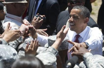 US President Barack Obama greets US troo