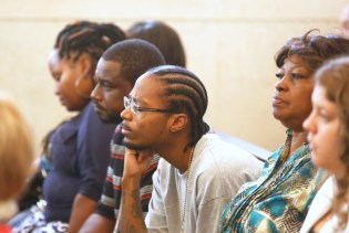 Family of Sam DuBose during the trial of Ray Tensing, former University of Cincinnati charged with murder of Sam DuBose during a routine traffic stop on July 19, 2015. Tensing's lawyer, Stew Mathews has said Tensing fired a single shot because he feared for his life. Second from right is Audrey DuBose, Sam's mother. The presiding judge is Megan Shanahan. The Enquirer/ Cara Owsley