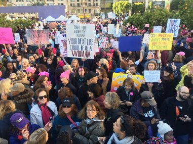 750,000 people attending Women's Rally downtown LA. Organizers expected 80,000