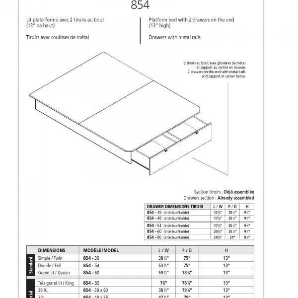 plateforme de lit double avec 2 tiroirs 13 hauteur