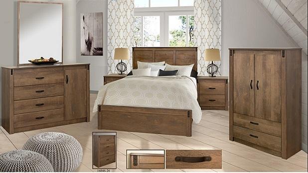 ensemble chambre a coucher queen style rustique 8 mcx