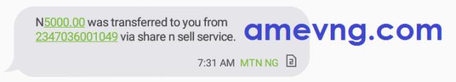 5000 mtn credit transferred notification