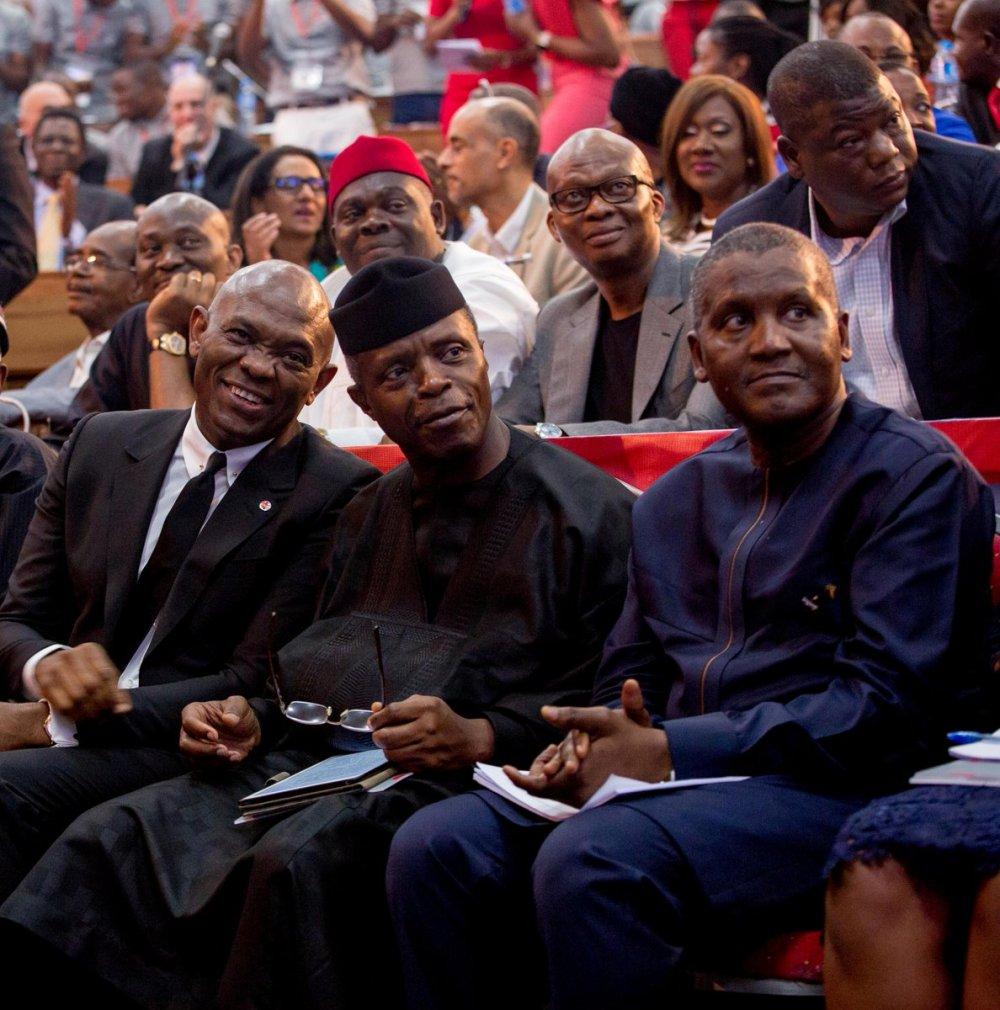 Tony. O. Elumelu with Prof Yemi Osibanjo and Aliko Dangote