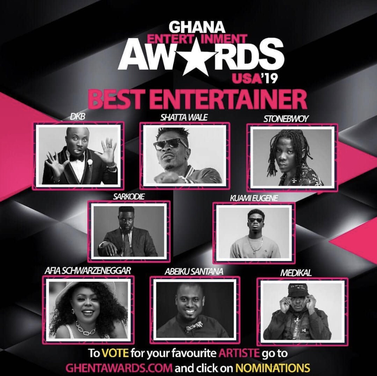 Here are the nominees for 2019 Ghana Entertainment Awards USA
