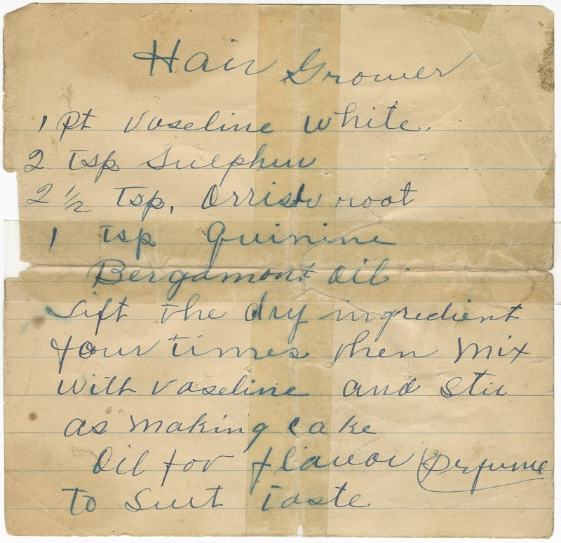Handwritten recipe for Poro Hair Grower, courtesy NMAAHC