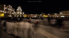 Panoramic view of Grammichele main square by night