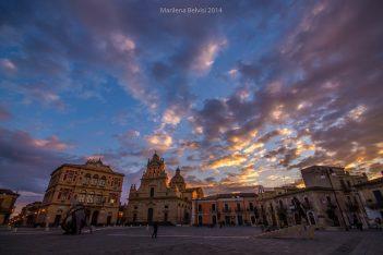 Panoramic view of Grammichele main square