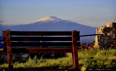 Volcano Etna view from the archeological site of Occhiolà
