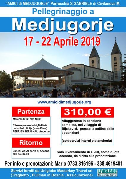 Pellegrinaggio a Medjugorje dal 17 al 22 aprile 2019 (Pasqua)