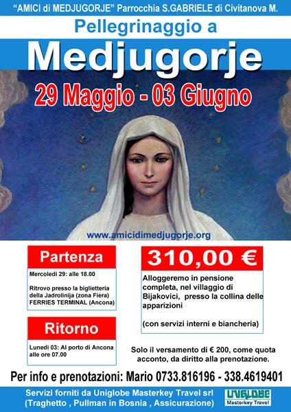 Pellegrinaggio a Medjugorje dal 29 maggio al 03 giugno 2019