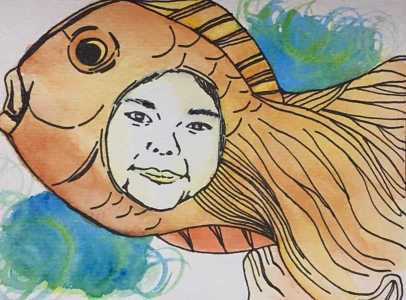 """""""Girl plus Fish"""" - I went avante garde on this one. This is my sister's face on a fish. HAHA."""