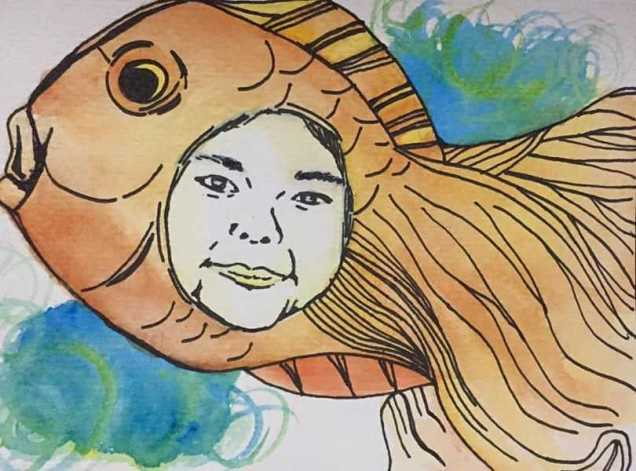 """Girl plus Fish"" - I went avante garde on this one. This is my sister's face on a fish. HAHA."