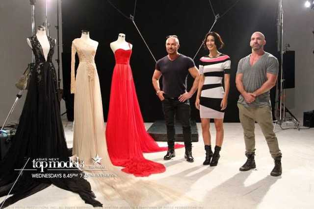 The judges with photographer Jez Smith, and Alex Perry dresses