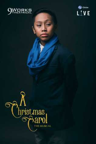 "Andre Ruelo as Jonathon and Scrooge at 12 in Alan Menken and Lynn Ahrens' ""A Christmas Carol The Musical"" from 9 Works Theatrical and Globe LIVE!"