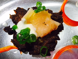 Potato Pancakes Topped with Smoked Salmon