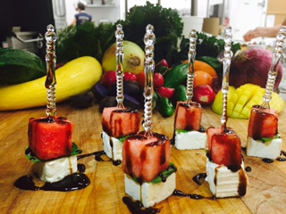 Watermelon, Feta and Basil Skewers Drizzled with Balsamic Glaze