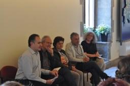 Els ponents de la presentació. D'esquerra a dreta, Manel Gasch, Ramon Ribera-Mariné, Carme Pujol, Xavier Poch i Assumpció Ros