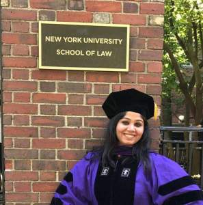 In 2017, Pallavi Chandrasekhar graduated with an LL.M. from the School of Law at New York University.