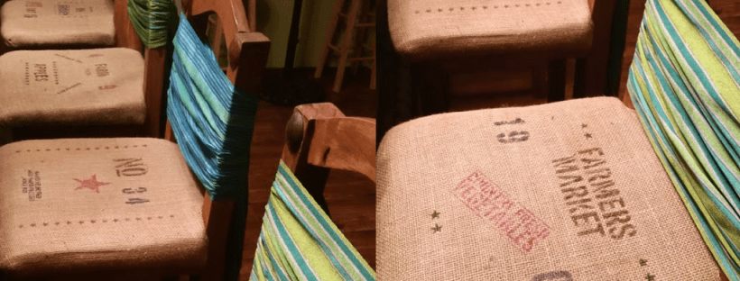 image of bar stool redo with diy coffee bag amigas4all
