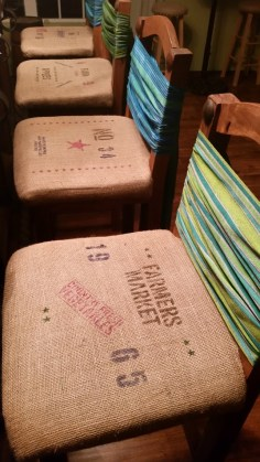 amigas4all, bar decor, rustic stool, rustic chair, burlap