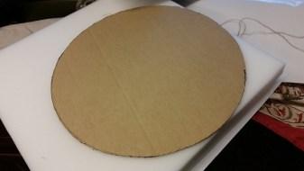 Burlap Bar stool redo cardboard image on foam amigas4all pattern