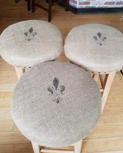 burlap bar stool redo 3 chairs amigas4all