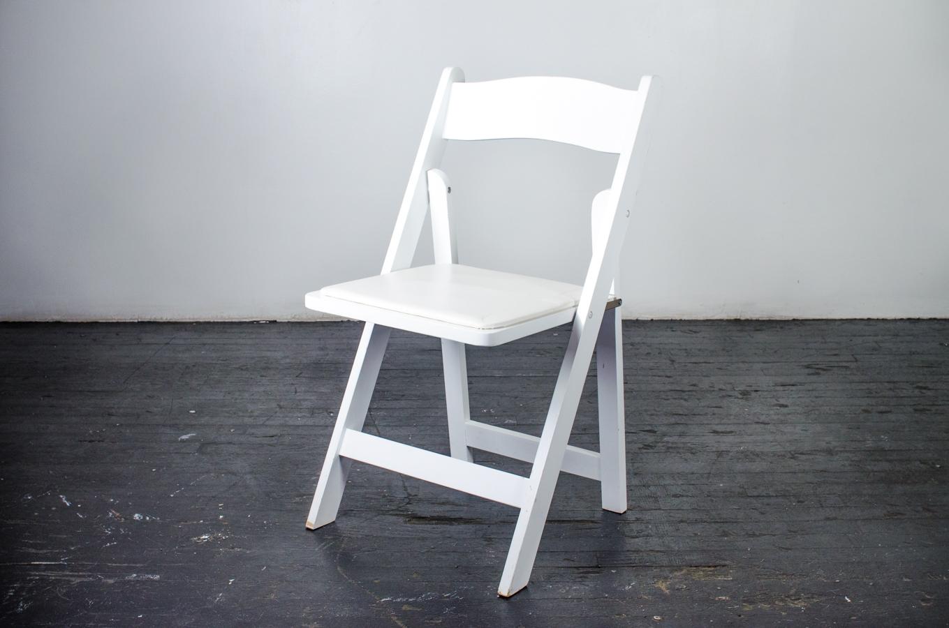 Chair White Wood Folding Amigo Party Rentals Inc