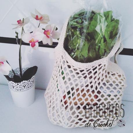Patrón gratuito de bolso punto de red-Amiguitos de crochet