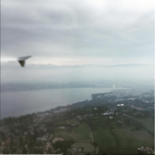 Geneva's Jet d'Eau is visible from the air.