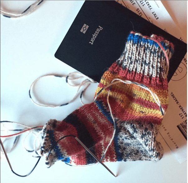 handknit socks - perfect travel knitting, and yes you can knit on planes!