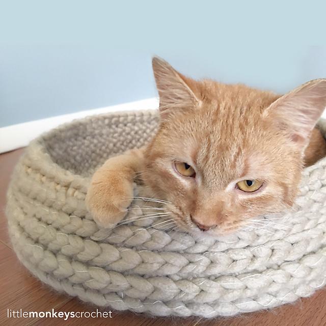 crocheted cat basket pattern