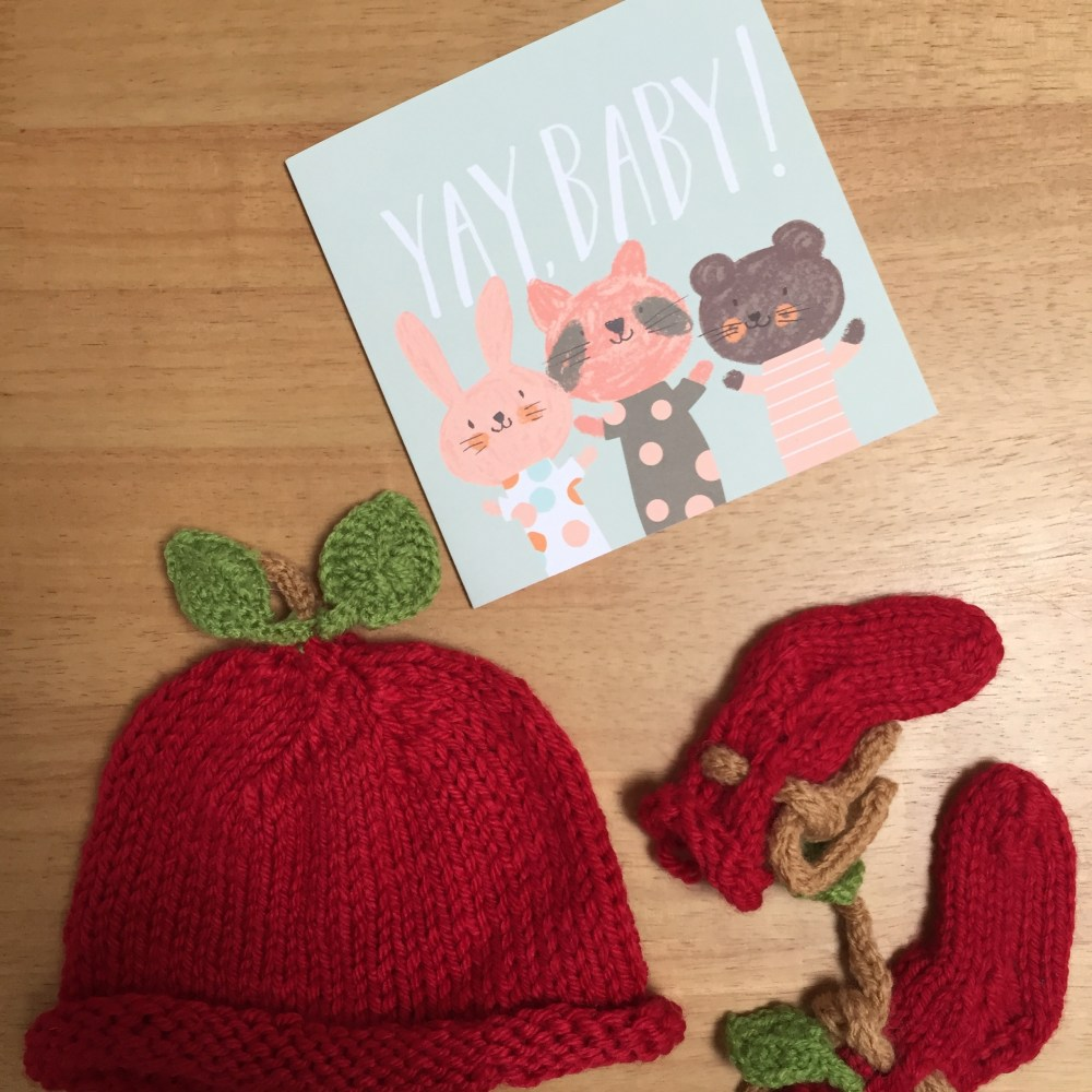 Handknit baby gift set - knitted baby booties and hat