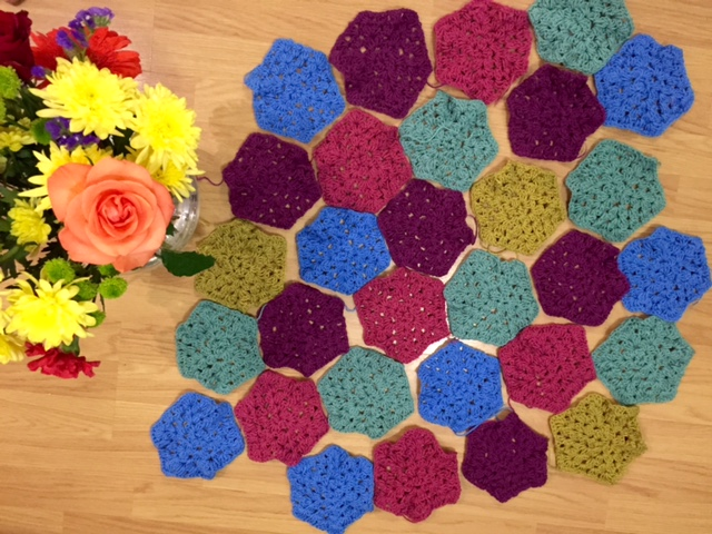 Crocheted hexagons for a blanket