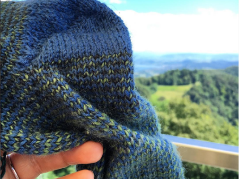 Helix striped travel knitting socks