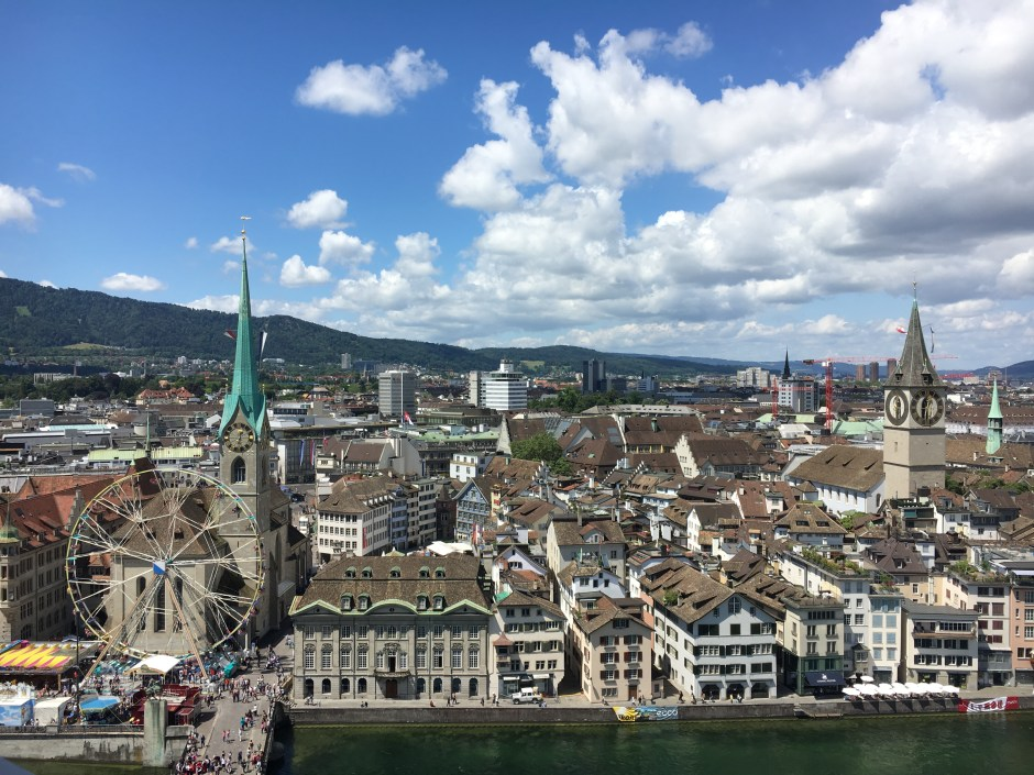 View of Zurich from a church tower.
