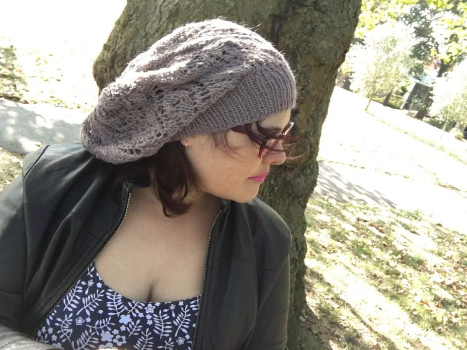 Wearing a beanie like a beret