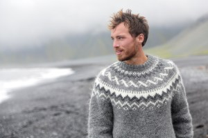 handsome icelandic man wearing a traditional mens lopi pattern
