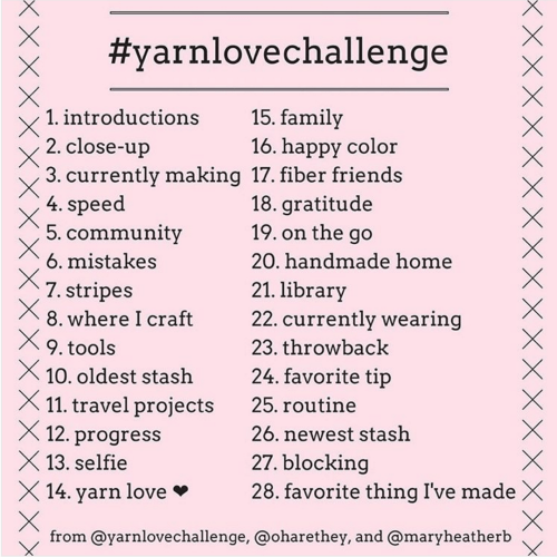 Yarn Love Challenge on Instagram