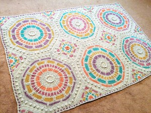Summer moasic crocheted afghan with squares and octogans
