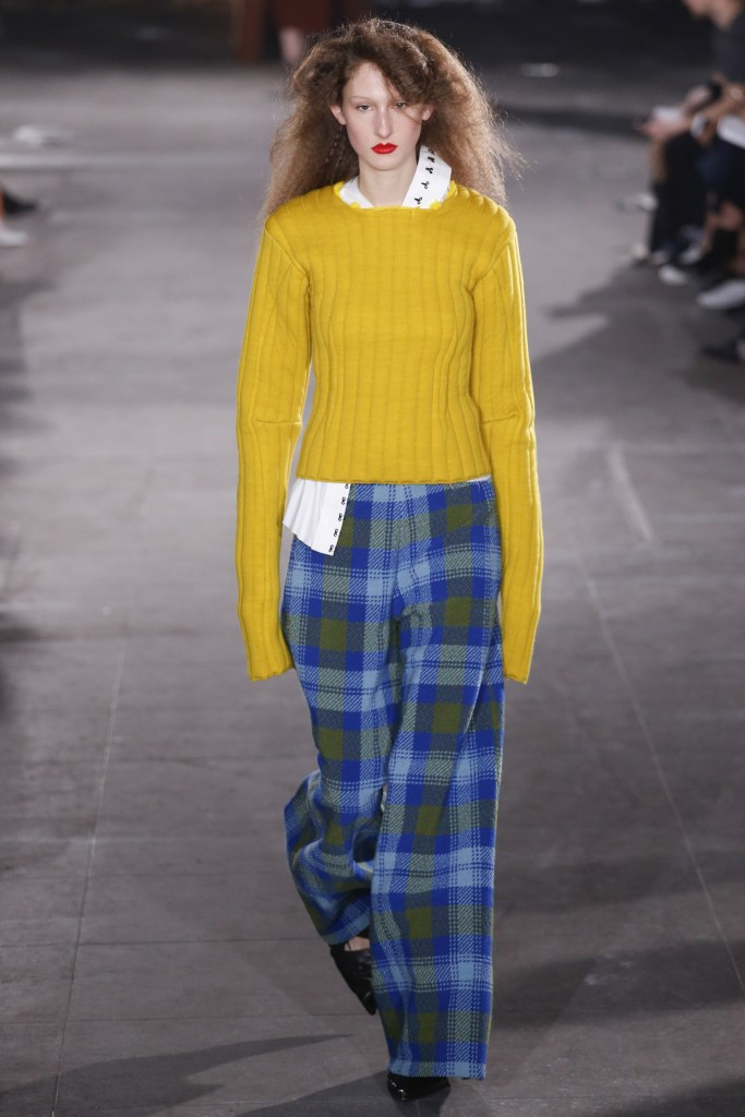 A yellow ribbed sweater from Joeseph