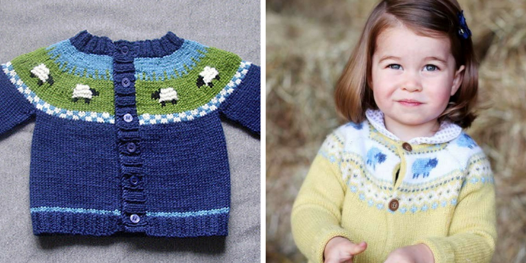 Knit Princess Charlotte's sheep cardigan with this free copy-cat knitting pattern.