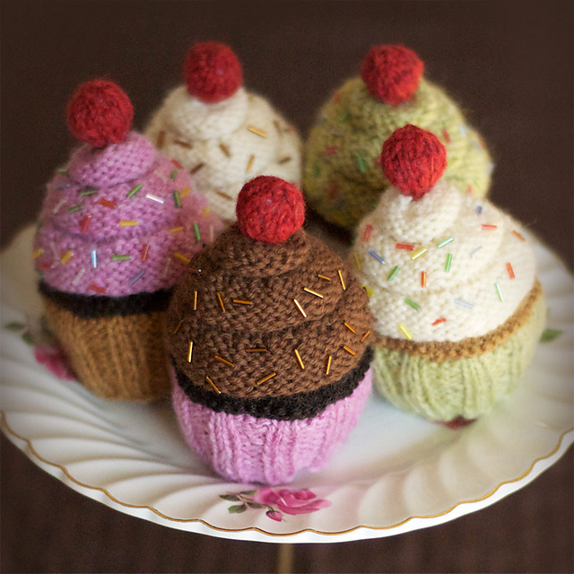 Cherry on top knitted cupcakes