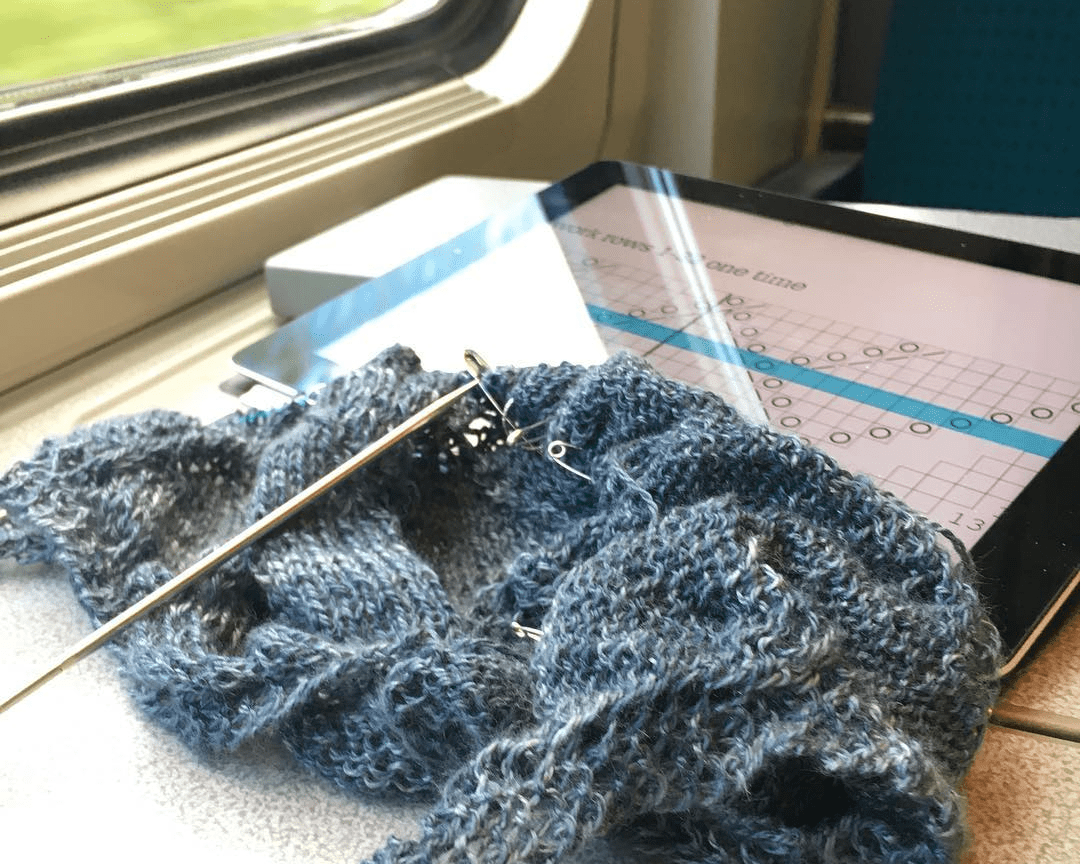 Travel knitting - knitting a complex lace shawl on a train