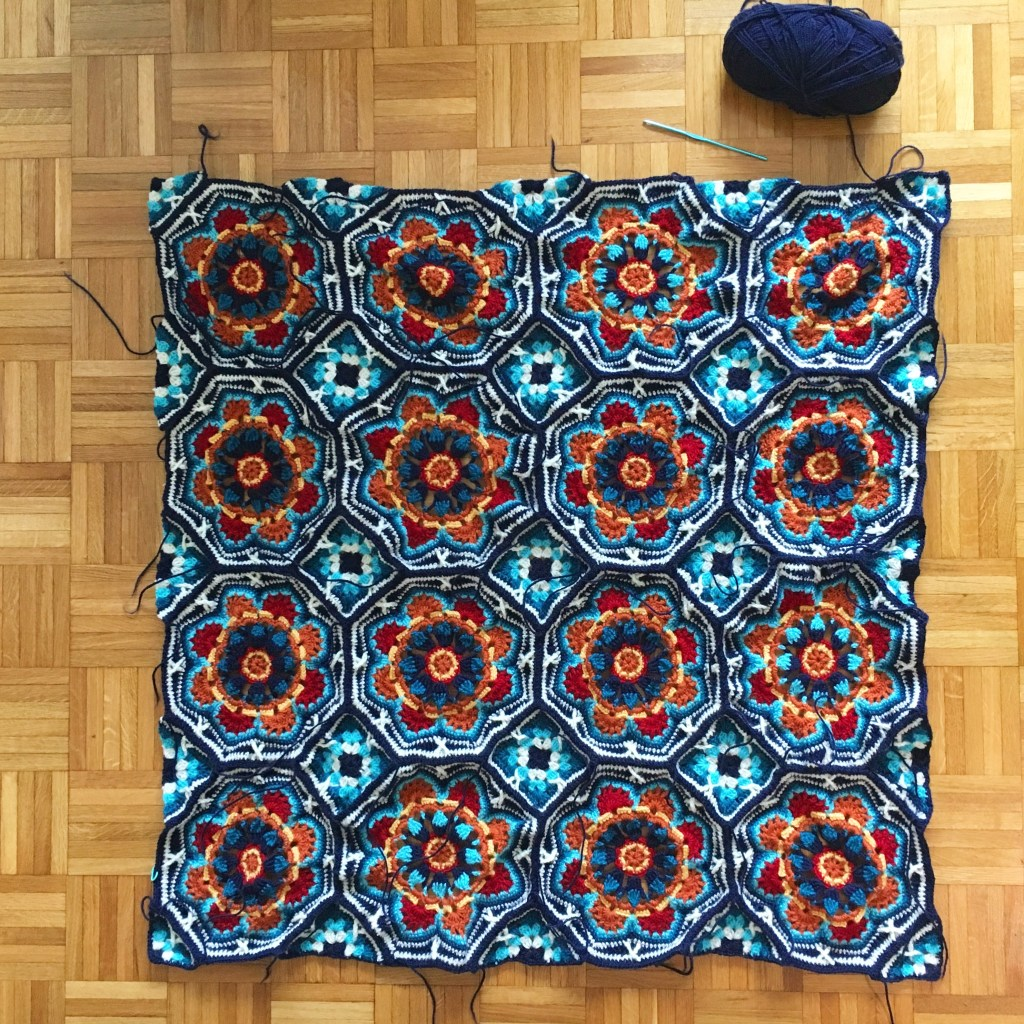 The Persian Tiles crochet blanket all joined up!
