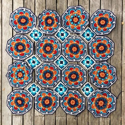 An almost-complete Persian Tiles crochet blanket