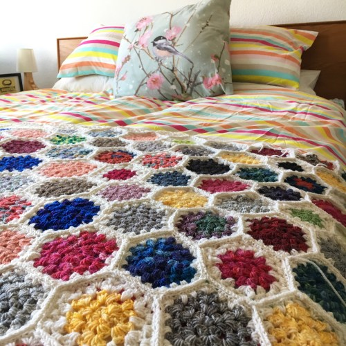 Granny Hexagon Crochet Blanket in progress