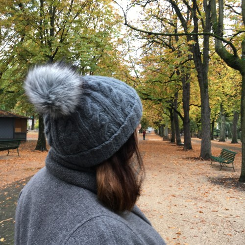 View of the fluffy pompom on my handknit beanie