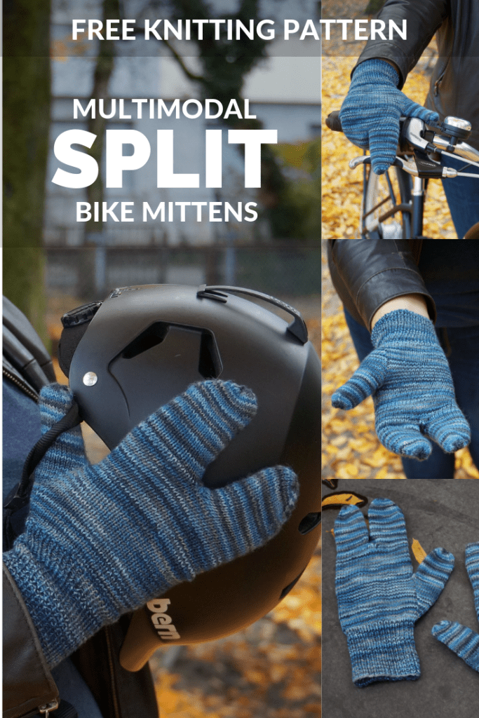 Free knitting pattern alert! These unique split mittens are designed for bikes.